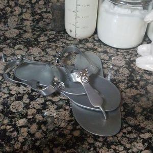 Michael Kors Shoes - Michael Kors Silver Jelly Metallic Sandal size 10